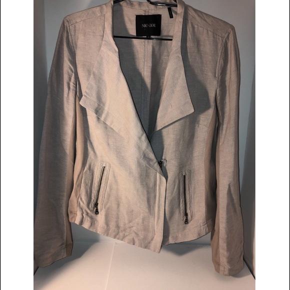 NIC+ZOE Jackets & Blazers - Nic + Zoe Linen Blend Biker Jacket